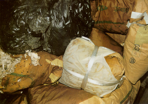 Disposed numerous garbage bags and used rice bags filled with cremated remains.